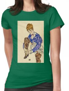 Egon Schiele - Portrait of the Artists Wife Seated, Holding Her Right Leg 1917  Womens Fitted T-Shirt