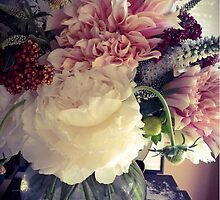 White Peony & Cafe Au Lait Dahlias by Barbara Wyeth