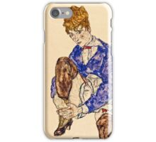 Egon Schiele - Portrait of the Artists Wife Seated, Holding Her Right Leg 1917  iPhone Case/Skin