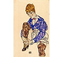 Egon Schiele - Portrait of the Artists Wife Seated, Holding Her Right Leg 1917  Photographic Print