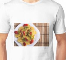 Top view of a vegetarian dish with organic vegetables Unisex T-Shirt