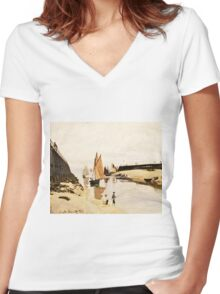 Claude Monet - Breakwater at Trouville, Low Tide (1870)  Women's Fitted V-Neck T-Shirt