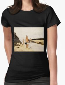 Claude Monet - Breakwater at Trouville, Low Tide (1870)  Womens Fitted T-Shirt