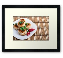 Fried meatballs of minced chicken on a stripe background Framed Print