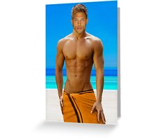Sexy guy by the pool Greeting Card