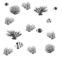 Coral reef black and white pattern Photographic Print
