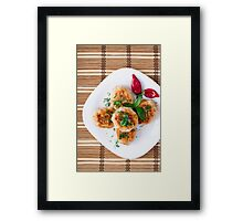 Top view of the fried meatballs with red pepper Framed Print