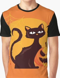 High Quality Halloween Cat Tapestry and Candy Bag  Graphic T-Shirt