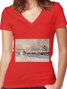 Claude Monet - The Magpie (1868 - 1869)  Women's Fitted V-Neck T-Shirt