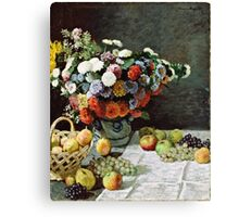 Claude Monet - Still Life with Flowers and Fruit (1869)  Canvas Print