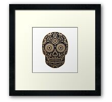 Black and Gold Sugar Skull Framed Print