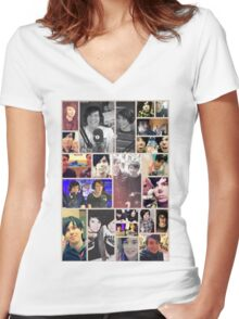 Dan and Phil Collage Women's Fitted V-Neck T-Shirt