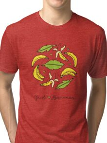 banana and leaves circle composition Tri-blend T-Shirt