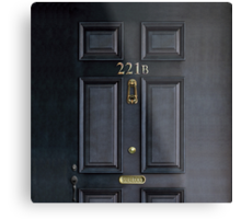 Black Door with 221b number Metal Print