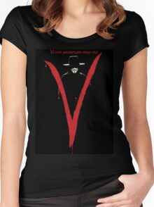 "V for Vendetta ""Vi veri universum vivus vici"" Women's Fitted Scoop T-Shirt"