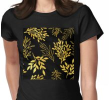 Shimmering golden leaves nature pattern Womens Fitted T-Shirt