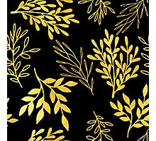 Shimmering golden leaves nature pattern Photographic Print