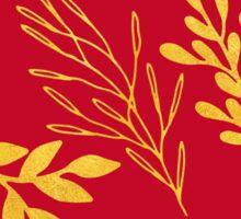 Golden leaves, rich Venetian red pattern Sticker