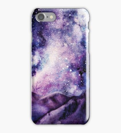 Watercolor Milky Way and Mountains iPhone Case/Skin