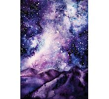 Watercolor Milky Way and Mountains Photographic Print