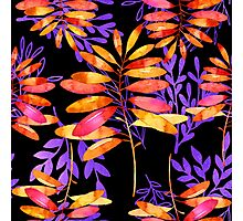 Psychedelic Fall, vibrant fall leaves nature pattern Photographic Print