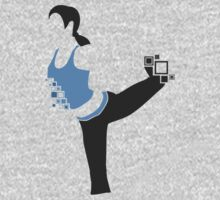 Pixel Silhouette: Wii Fit Trainer (Female) Kids Tee