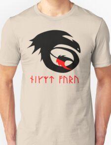 dragon training symbol with night fury written in runes. Unisex T-Shirt