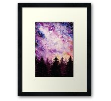 Watercolor Space And Dark Firs Framed Print