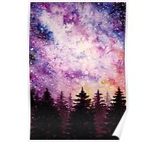 Watercolor Space And Dark Firs Poster