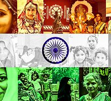 Indian Flag With Women Of India by Neha  Gupta