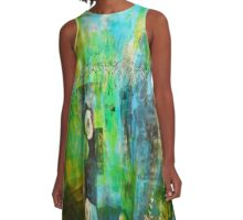 Blue in the Breeze Abstract A-Line Dress