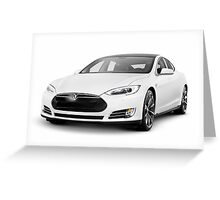 White Tesla Model S luxury electric car Greeting Card