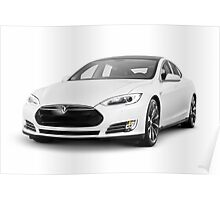 White Tesla Model S luxury electric car Poster