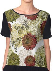 Gorgeous Earth Tone Flowers and Butterfly Chiffon Top