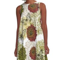 Gorgeous Earth Tone Flowers and Butterfly A-Line Dress