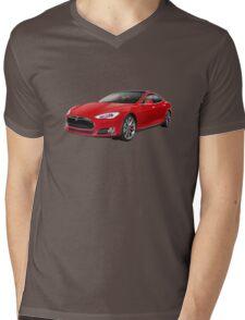 Tesla Model S red luxury electric car photo Mens V-Neck T-Shirt