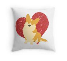 Corgi with heart Throw Pillow