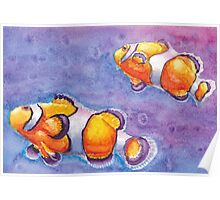 Watercolor Clownfish Poster