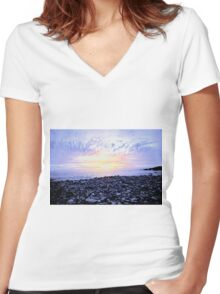Pebbles on the Shore Women's Fitted V-Neck T-Shirt