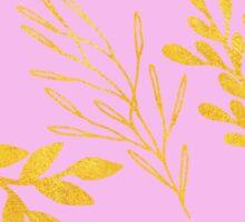 Golden Leaves on pale lilac botanical pattern Sticker
