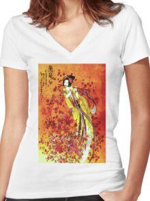 """JAPANESE GEISHA FLUTIST"" Vintage Decorative Painting Print Women's Fitted V-Neck T-Shirt"