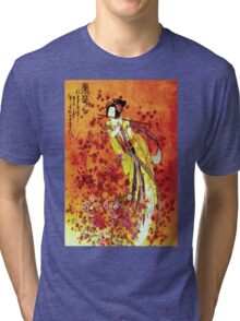 """JAPANESE GEISHA FLUTIST"" Vintage Decorative Painting Print Tri-blend T-Shirt"