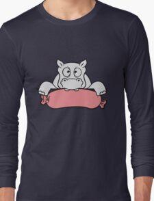 wurst essen lecker hunger rahmen wand linie umrandung text schreiben lustig dick lustig comic cartoon kleines süßes kind nilpferd glücklich  Long Sleeve T-Shirt