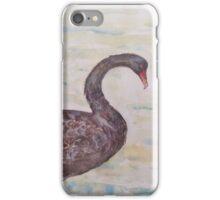 Black Swan at lake by Liz H Lovell iPhone Case/Skin