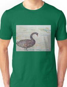 Black Swan at lake by Liz H Lovell Unisex T-Shirt