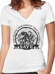 Save the Pacific Northwest Tree Octopus Women's Fitted V-Neck T-Shirt