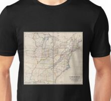0329 Railroad Maps H V Poor's rail road map showing particularly the location and connections of the North East South West Alabama Rail Road by E D Sanford Civil Unisex T-Shirt