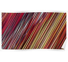 Color and Form Abstract - Striped Line Rain of Reds and Yellows Poster