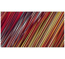 Color and Form Abstract - Striped Line Rain of Reds and Yellows Photographic Print