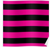 Hot Pink and Black Stripes Poster